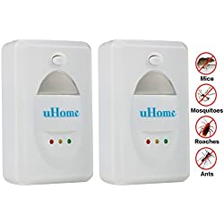Pest Control Against Mouse, uHome Pest Repellent for Cockroach-Pest Repeller for Rodents-Pest Control Equipment for Insects-Ultrasonic Pest Control with Built in Night Light_Set of 2