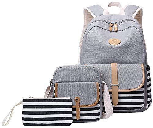 School Backpack for Girls, Gazigo Womens High School College Bookbags Laptop Bag (Gray)