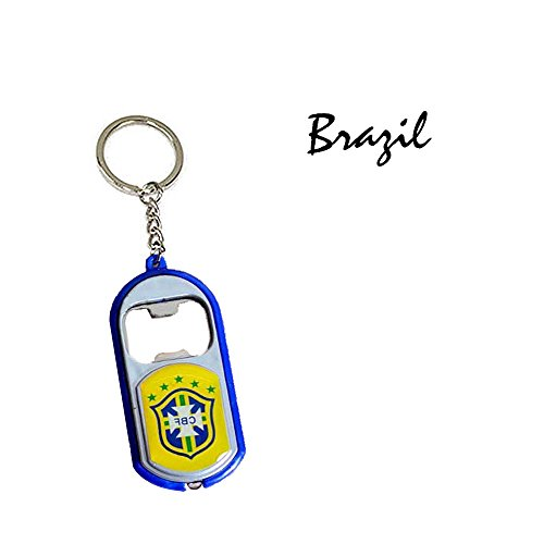 Walmeck World Cup Keychain Alloy Pendant Bottle Opener with LED Light Football Fans Gift