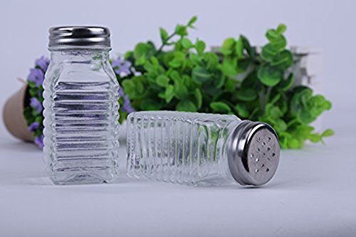 Spice Jars,Spice Bottles,Spice Container,Spice Shaker, Glass Spice Storage Jar with Metal Lid by Meleg Otthon,Set of 2