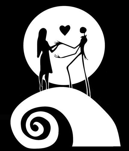 Nightmare Before Christmas Images Black And White.Nb4c 5 Tall Nightmare Before Christmas Jack N Sally W Moon Backgrown Decal Sticker For Laptop Car Window Tablet Skateboard White