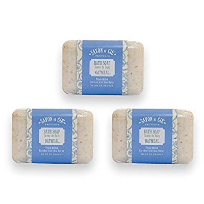 Savon et Cie Triple Milled Exfoliating Oatmeal Soap enriched with Organic Shea Butter, 100% Pure Vegetable Based, Natural French Bath Soap, Paraben Free - 3 x 7 oz (200g) Pack of 3