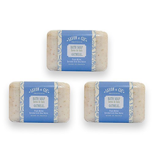 Savon et Cie Triple Milled Exfoliating Soap enriched with Organic Shea Butter, 100% Pure Vegetable Based, Natural French Bath Soap, Paraben Free - Oatmeal, 3 x 7 oz Pack of 3