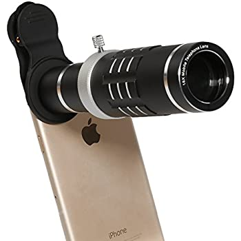 Phone Lens 18X Telephoto Lens High Definition Flexible Tripod Universal Clip for iPhone Samsung Most Smartphone (Black)