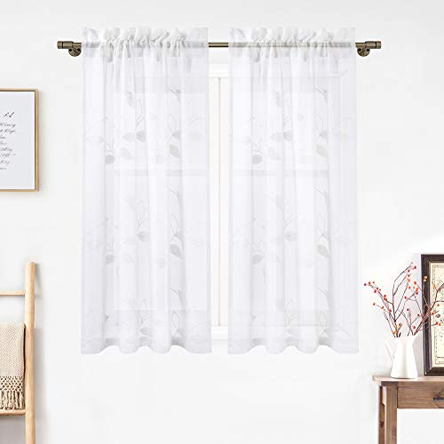 Haperlare Short Sheer Curtains, Floral Embroidered Faux Linen Textured Kitchen Tier Curtains Cafe Curtains, Rod Pocket Leaves Pattern Window Treatment Set for Living Room, 26