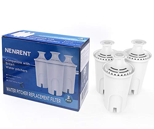 NENRENT 9802 Water Pitcher Replacement Filter Compatible with Brita Water pitchers (3 pack) (Brita Ob03 Replacement Filter)