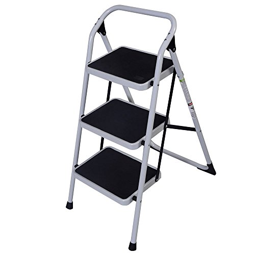 ROVSUN 3-Step Iron Ladder with Handrail, Humanity Slippery-Resistant Safety Short Stairs for Home Use, Library Use Multi-Function Stool