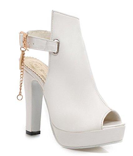 YE Frauen High Heels Plateau Blockabsatz Peep Toe Ankle Boots Sommer Stiefeletten Slingback Sandalen mit Schnalle Weiß