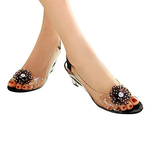 - Summer Sandals Women Shoes Woman Flowers Sweet Style Shoes for Lady Size Plus 35-43 XWZ831,Black,9