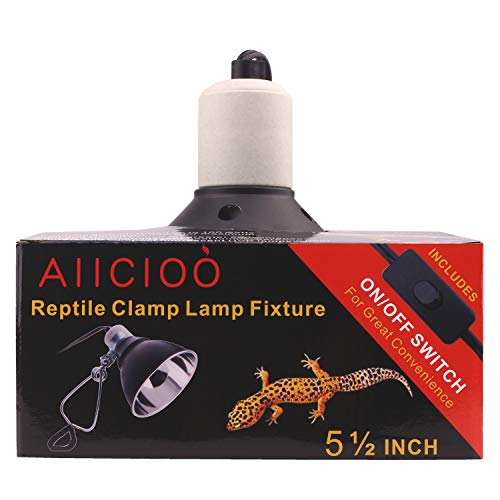 Clamp Lamp Fixture - 5.5 inch Deep Dome Lamp Fxiture for Reptiles and Amphibians with Ceramic Socket Safety Cover (Lamp Fixture 5.5inch)