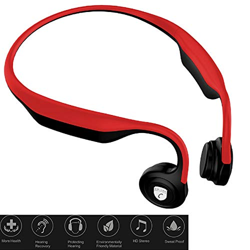 Jonly Bone Conduction Headphones Wireless Bluetooth Waterproof and Sweat-Proof Automatic Rebound Voice Announcement with Microphone for Sports,Red