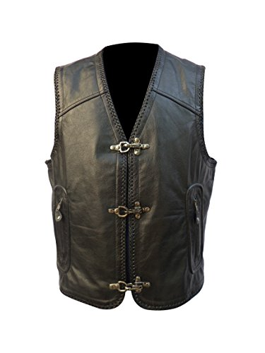 (Motorcycle Rider Vest with Natural Buffalo leather.(GAS VEST))