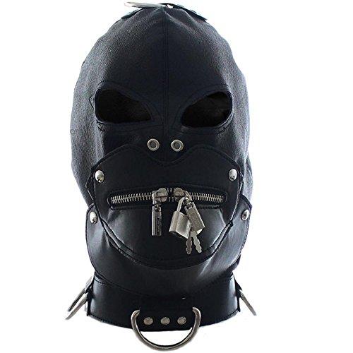 Raycity Black Leather Costume Gimp Mask Hood Style Style 3