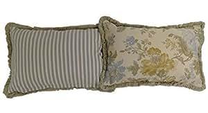 Príncipe de oro azul mezcla de algodón grueso 40 x 60 cm franja cojín REVERSIBLE