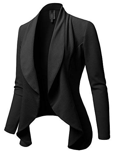 Awesome21 Solid Formal Office Style Open Front Long Sleeves Blazer - Made in USA Black Size XL (Usa Made Clothing Women In)
