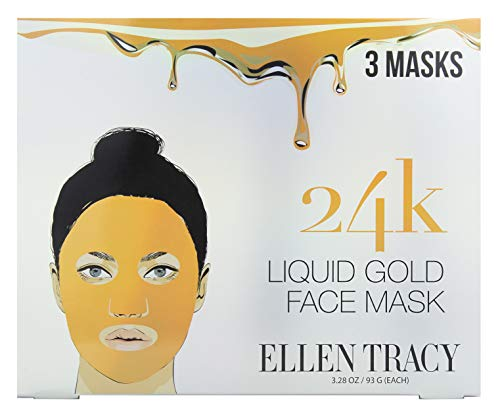 Ellen Tracy 24K Liquid Gold Face Mask for Beautiful Glowing Skin - Anti Aging Facial Brightening, Moisturizing, Firming Mask Treatment, Reduces Lines, Wrinkles and Acne - Pack of 3 Masks