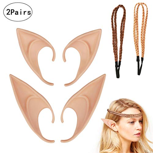 LANMOK 2pair Latex Elf Fairy Ears for Anime Hobbit Cosplay Halloween Party Decor]()