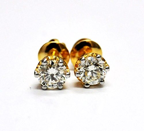 Solitaire Style 925 Sterling Silver Gold Finish Lab White Diamond Stud Earrings Jewelry Valentine Mom Gift