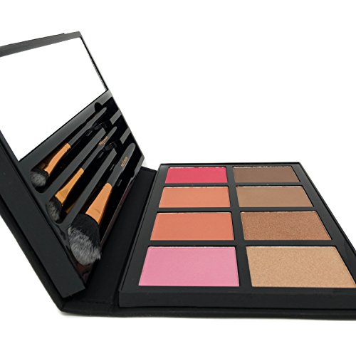 Profusion Cosmetics - Blush & Bronzer - Professional 8 Color Palette Makeup Kit Blush Highlighter Bronzer - Nude Highlight Champagne Highlight Light Bronze Shadow Bronze Pink Warm Peach Rose Pink by Profusion Cosmetics (Image #3)