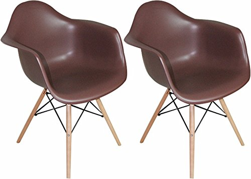 Mod Made Mid Century Modern Paris Tower Dining Arm Chair Wood Leg, Chocolate, Set of 2