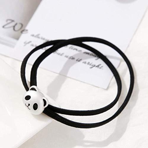 Cute Cartoon Bear Rubber Band Hair Elastic Rope Ponytail Holder Hair Rope Rope Korean Headdress Hair Accessories Leather tie Women Gift Adult (Ancient Silver Panda