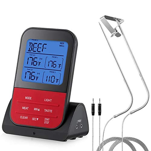 Wireless Meat Thermometer,Meat Probe Thermometer,Perkisboby Instant Read Digital Food Thermometer with Dual Probes LCD Display Alarm Timer for Kitchen Cooking BBQ Grilling Smoker Oven Baking