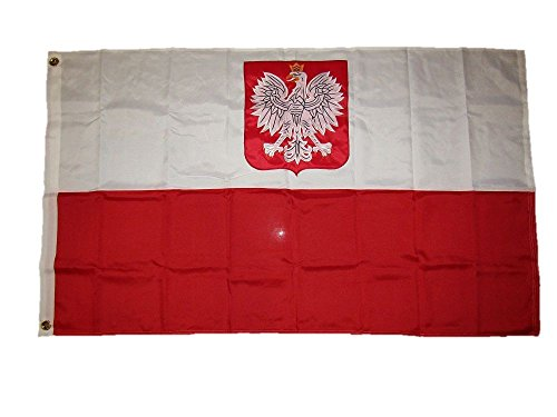 (3x5 Embroidered Sewn Poland Eagle Polska Polish 600D 2ply Nylon Flag 3'x5')