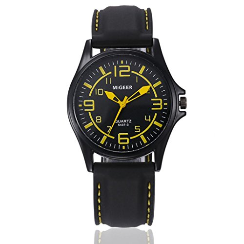 Nikuya Men Quartz Hours Wrist Analog Watch Fashion Silicone strap Sport Cool Watch (yellow)