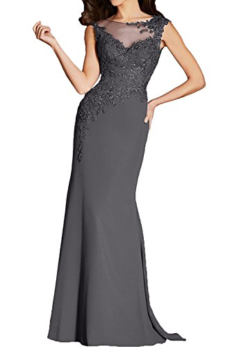 Chiffon Ivydressing Neu Grau 2017 Elegant Applikation Abendkleider Lang Grau Brautmutterkleider Partykleider Meerjungfrau vRarvnB