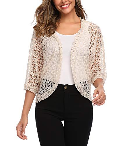- Aranmei Women's 3/4 Sleeve Shrug Lace Crochet Bolero Open Front Cardigan Jacket (Apricot X-Large)