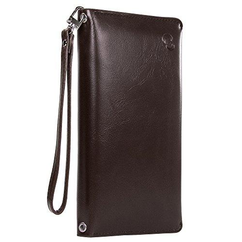 Multi-Purpose RFID Travel Wallet & Passport Holder, Slim Syn- Leather Multi Card Bifold Document Organizer Pouch (Mocha, Large) ()