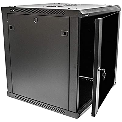 NavePoint 12U Deluxe IT Wallmount Cabinet Enclosure 19-Inch Server Network Rack With Locking Glass Door 24-Inches Deep Black