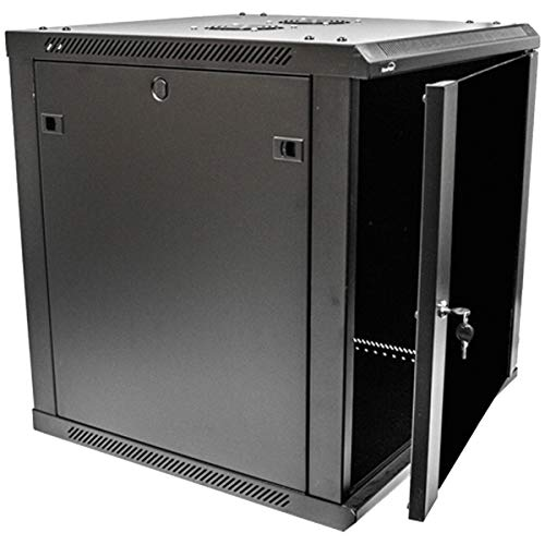 NavePoint 12U Deluxe IT Wallmount Cabinet Enclosure 19-Inch Server Network Rack With Locking Glass Door 24-Inches Deep -