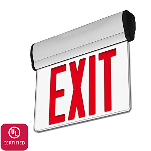 LFI Lights - UL Certified - Hardwired Edge Light Red LED Exit Sign - Rotating Panel - Battery Backup - ELRTR - Edge Lit Led Sign