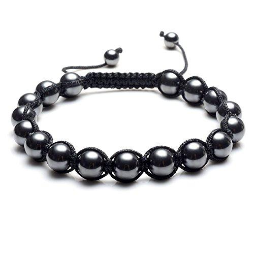 (Top Plaza Men's Women's Reiki Healing Energy Natural Tiger Eye Stone Magnetic Hematite Therapy Beads Macrame Adjustable Braided Link Bracelet(All Hematite))