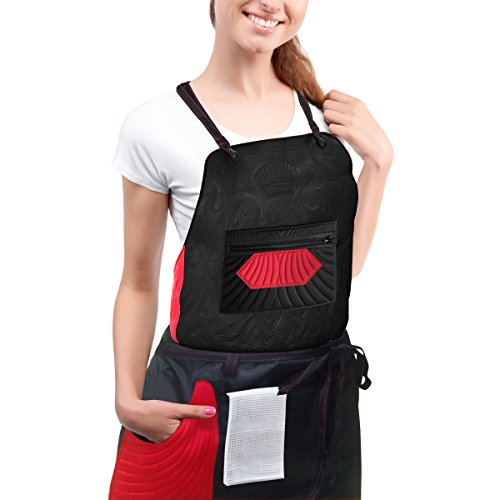 Reversible Waist Apron (Kitchen Apron with 7 Custom Pockets Easy to Adjust Bib & Water-resistant Waist Chef Apron 2in1 Set,Extra Comfort Neck Support Pad-for BBQ Cooking Baking Cleaning & Serving by MetricUSA)