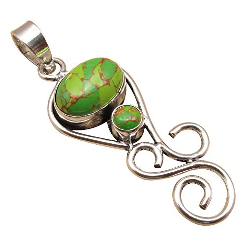 URBAN STYLE GREEN Pendant ! Genuine COPPER TURQUOISE Gemset 925 Sterling Silver Plated Gift