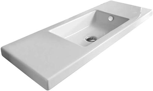 Tecla 3502011-No Hole-637509873561 Luxury Porcelain Wall Mounted Washbasin, White
