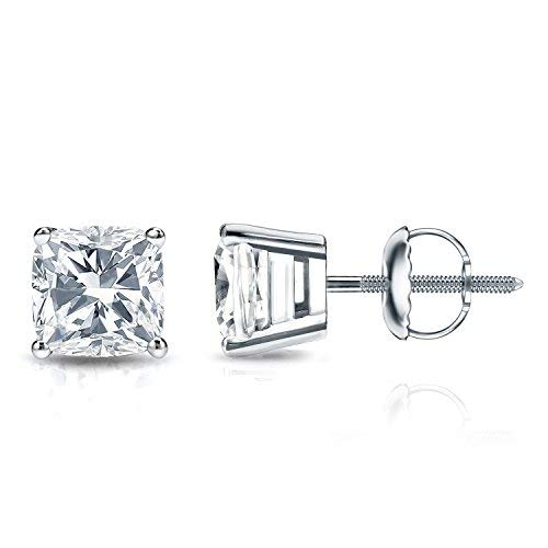 Jewlery By Bruno cushion brilliant cut natural diamond stud earrings Martini Set in 14K White Gold 1.40 Crt Certified (F-G Color, VS2-SI1 Clarity)
