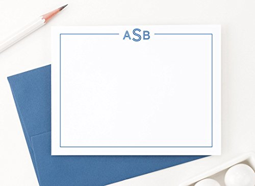 3 Letter Monogram Stationery Set, Monogram Note cards with E