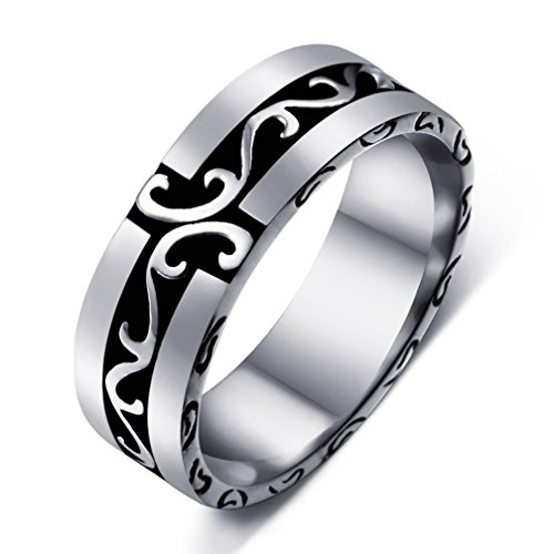 - SAINTHERO Men's Vintage Gothic Stainless Steel Wedding Band Rings Silver Black Floral Carved Punk Biker Rings Size 7