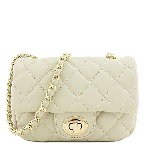 Mini Classic Quilted Chain Shoulder Bag Beige - Beige Classic Flap
