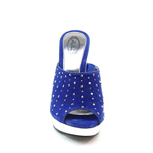 New Brieten Womens Rhinestone Studded Peep Toe High Heel Slide Dress Party Sandals Blue mtsEKSS