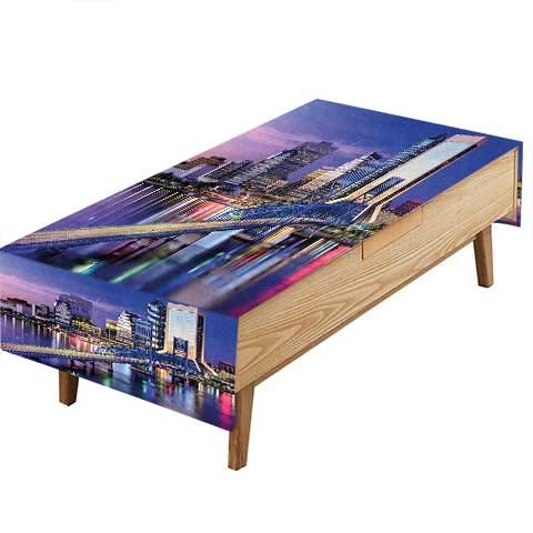 (PINAFORE Waterproof SpillProof Tablecloth Urban Cityscape Bridge Office Buildings Jacksonville Florida Violet Blue Light Pink Tan Hotel Parties Out Dinners W60 x L120)