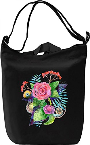 Flowers Borsa Giornaliera Canvas Canvas Day Bag| 100% Premium Cotton Canvas| DTG Printing|