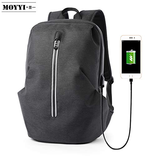 Travel Laptop Backpack Bag Slim College School Computer Bookbag with USB Charging Port Nylon Waterproof Leisure Reflective Tote Daypack Satchel Fits 14 Inch Tablet Notebook Men 0232