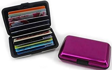 81da6e24470d STARMALL 12 Slots Aluma Wallet Multi Pockets Aluminum Purse Credit Cards  Organizing Hard Case Holder-Rose Red