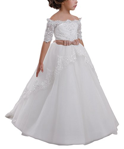 Elegant Flower Girl Lace Beading First Communion Dress 2-12 Years Old White with Pink Bow Size 12