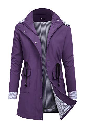 RAGEMALL Women's Raincoats Windbreaker Rain Jacket Waterproof Lightweight Outdoor Hooded Trench Coats Dark Purple XXL -