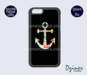 iPhone 6 Plus Case - Black Colorful Anchor iPhone Cover